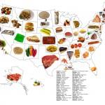 Карта с традиционными блюдами каждого штата США